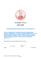 St Eanswythes Primary Admission Policy 2021 22 amend